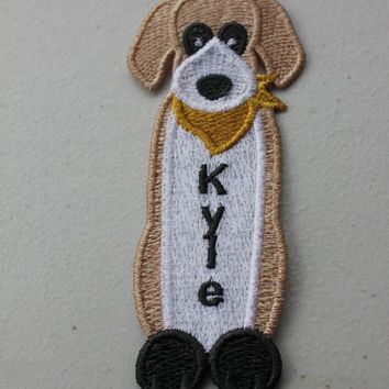 Kid's Puppy Dog Personalized Animal  Bookmark for Your Favorite Child or Pet Lover - Custom Embroidery , Handmade in USA