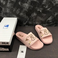 MLB New York Yankees Sandals Bee Slippers Sliders Summer Shoes Pink Flip Flop - Best Deal Online