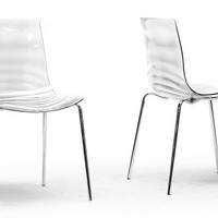 Marisse Clear Plastic Modern Dining Chair Set of Two