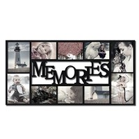 "Adeco Decorative Black Plastic ""Memories"" Wall Hanging Collage Picture Photo Frame, 4 x 6-Inch"