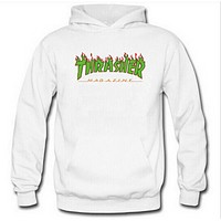 Thrasher Autumn And Winter Fashion New Bust Flame Letter Print Hooded Women Men Long Sleeve Sweater White