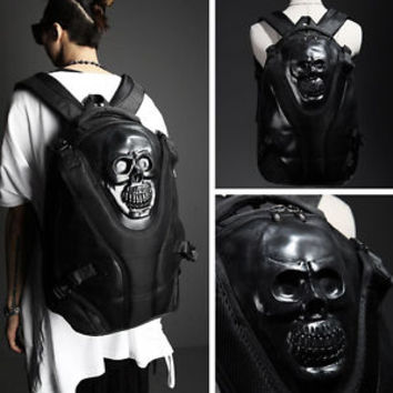 ByTheR Men's Fashion Faux Leather Casual Devil Skull Unique Backpack P0000RLO