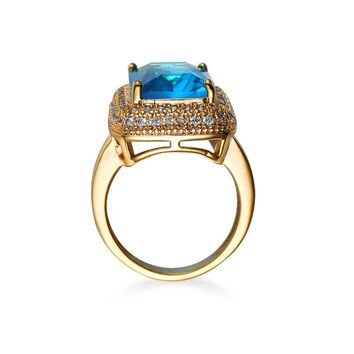 KC Fashion Women Big Stone Wedding Rings Jewelry Stainless Steel blue&Brown Stone Rings for Women Party Jewelry