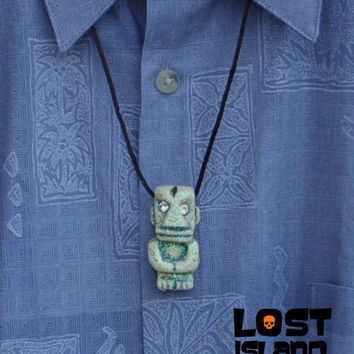 Glow in the Dark Tiki God Pendant with Clear Jewel Eyes cast from original Randotti mold #819c.