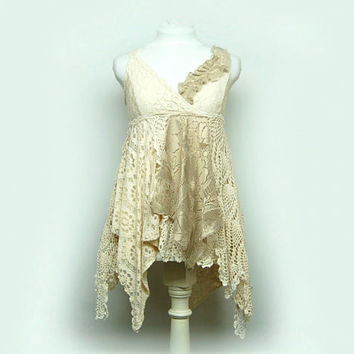 Medium Gypsy Lace Tunic, Shabby Boho Chic Lace, Magnolia Ivory Pearl White, Fairy Woodland, Tattered, Hippie, Eco Upcycled Festival Clothing