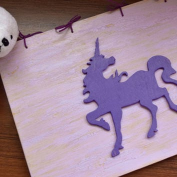 Purple Unicorn wood book,Kids wood book,Girl Baby book,Kid's photo album,Guest Registry,Personalized Notebook,sketchbook,baby shower gift