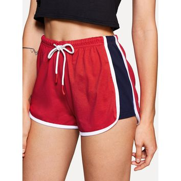 Contrast Binding Color Block Dolphin Shorts