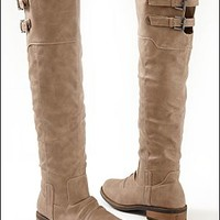 Taupe (TP) Buckle Knee High Boot