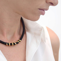 Black Wire crochet necklace, 14k gold spiral element, Gold collar crochet necklace, Crochet tube necklace, Statment necklace, Gift for her