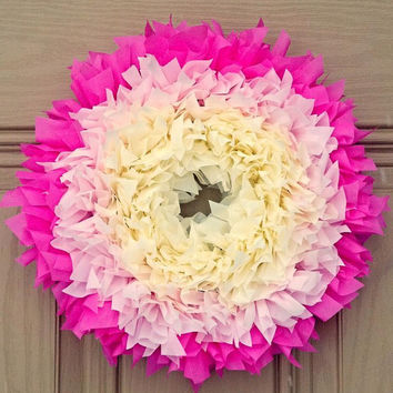 Small Indoor Outdoor All-Weather Wreath.... Ombre Pink. Perfect for Spring! Easter, birthday, baby shower, Mother's Day, Summer, wedding