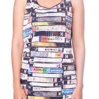 Videocassette Videotape Shirt Music Video Cassette Shirts Women Tank Top White T-Shirt Tunic Top Vest Singlet Women Shirt Size S M