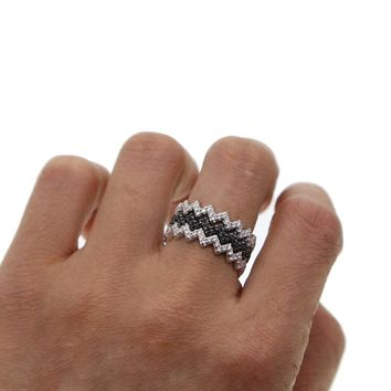 2018 STACKING stack ring wave cz engagement band micro pave white black cubic zirconia cz eternity band trendy finger rings