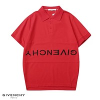 Givenchy New fashion embroidery  anti- letter lapel couple top t-shirt Red