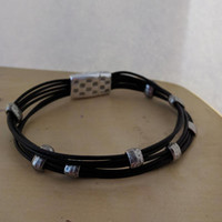 Black Leather Bracelet-Men or Women-Magnetic Clasp-Six Leather Cords-Metal Heart Charm-Metal hope Awareness Ribbon Charm-Mourning-