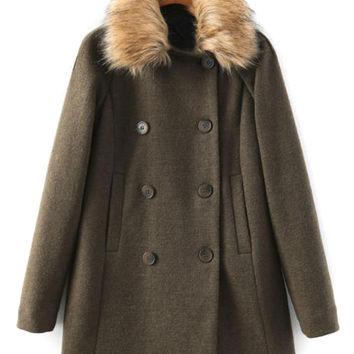 Military Green Double Breasted Faux Fur Collar Wool Coat
