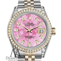 Rolex Stainless Steel & Gold 36mm Datejust Watch Pink Flower MOP Diamond Dial