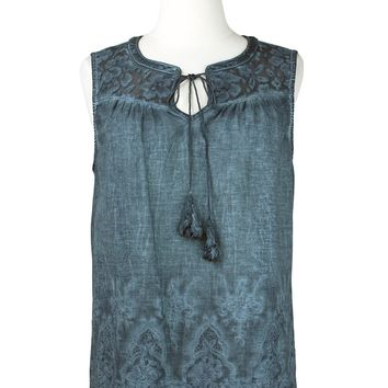 Cleo Mineral Wash Embroidered Top