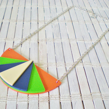 Neon Colorblock Geometric Bib Necklace by RetroRevivalBoutique