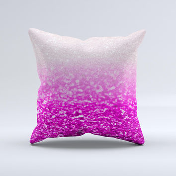 Hot Pink & Silver Glimmer Fade  Ink-Fuzed Decorative Throw Pillow