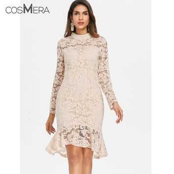 CosMera Elegant Round Neck Flare Lace Overlay Mermaid Long Sleeve Women Dress Casual Solid Party Dress Cocktail Summer Dress
