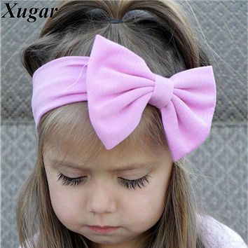 Lovely Girls Cotton Headband Solid Hair Bows Headbands For Kids 2018 New Arrival Newborn Kids Cotton Hair Accessories