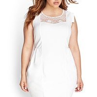 FOREVER 21 PLUS Ornate Lace Bodycon Dress Ivory