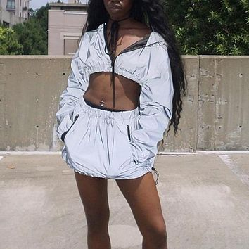 3M Reflective Two Piece Set (Hoodie & Skirt)