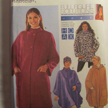 SALE Uncut Simplicity Sewing Pattern, 9892! 26W-28W-30W-32W Plus Sizes/Women's/Misses/Full Figure Cape Style Coats/Jackets/Fleece Jackets