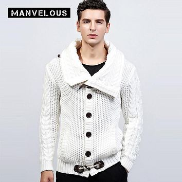 Manvelous 4XL Cardigan Sweater Mens Autumn Winter Casual Fashion Loose Solid Thick Acrylic Turtleneck Black Men's Sweaters Coats