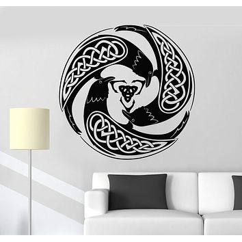 Vinyl Wall Decal Celtic Raven Pattern Druid Irish Art Ireland Stickers Unique Gift (ig4877)
