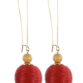 Red Color Cord Wrapped Chunky Ball Dangle Earring