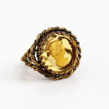 Vintage Brass Simulated Citrine Cameo Ring - 1940s Yellow Glass Reverse Carved Adjustable Statement Costume Jewelry Cocktail Ring