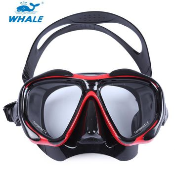 New WHALE Professional Scuba Hyperopia Myopia Diving Swimming Mask With Tempered Glass lens