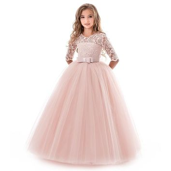 2018 New Teenage Dresses For Girls Solid Long Sleeve Evening Grown Flower Girls Wedding Party Costume Princess Party Vestidos