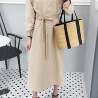 Self-Tie Waist Strap Button-Down Midaxi Dress