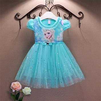 Party Girl Lace Dress 2017 Summer Anna Elsa Dress For Girls Kids Princess Dress Baby Girls Costume For Children Clothing