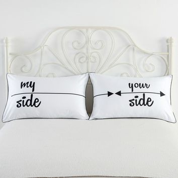 1 pair Soft Queen King Pillowcase Decorative Pillow Case Romantic Wedding Valentine's Gift MR and MRS Pillow Cover Personalised