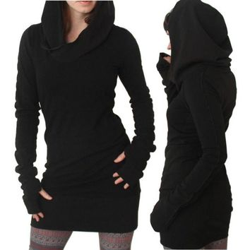 Black Hooded Sweatshirt Dress