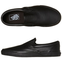VANS MENS CLASSIC SLIP ON SHOE - BLACK BLACK LEATHER