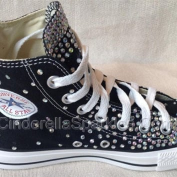 Black Chuck Taylor High Top Crystal Rhinestone Converse Bridal Prom Romany  Shoes f45bc667f
