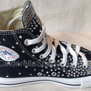 bd6dbffa9e60 Black Chuck Taylor High Top Crystal Rhinestone Converse Bridal Prom Romany  Shoes