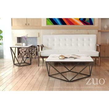 ZUO Modern Tintern Coffee Table Stone & A. Brass 100657 Living Coffee/Side/Consoles