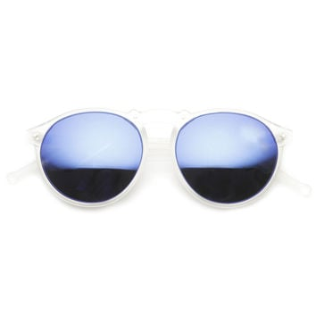 Trendy Retro Frosted Mirror Lens Round Sunglasses 8961
