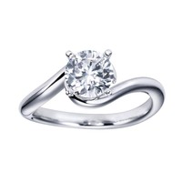 1ct tw Diamond Solitaire Engagement Ring in 14K White Gold - Engagement Rings