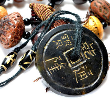 Antique Carved Fortune Coins Carved Black Jade Protective Amulet Necklace, Pendant 70x70x12 mm,  Nettle long 75 cm Cord