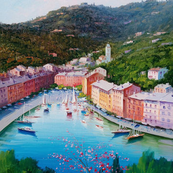 Italian painting seascape Mediterranean sea Portofino Ligurian coast original canvas of Giuseppe Iannicella Italy