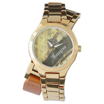 Ornate yellow and gold damask wristwatch
