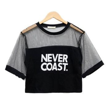 Fashion 2018 New Sexy Women Girls Loose Letter Printed Crop Top T-Shirt Crew Neck See-through Gauze Tops