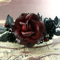 Gothic Wedding Hair Piece - Romantic Red Victorian Gothic Hair Clip - Red and Black Flower Hair Barrette Black and Red Rose Hair Accessories
