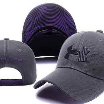 The New Purple Gray Under Armour Cotton Sport Baseball Cap Hats